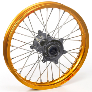 "Haan Wheels, Komplett Hjul, 1,40, 17"", FRAM, GULD GRÅ, Kawasaki 01-20 KX85, 97-00 KX80"