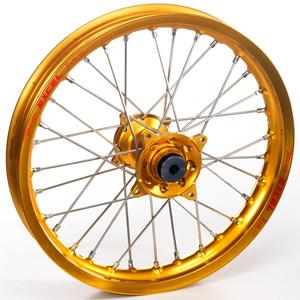 """Haan Wheels, Komplett Hjul, 1,60, 14"""", BAK, GULD, Kawasaki 01-20 KX85, 97-00 KX80"""