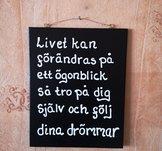 Handgjord trätavla, Livet,  26x20.5