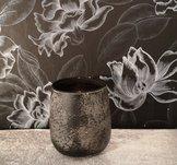 Iris, värmeljushållare/vas, 10x11 cm, grå