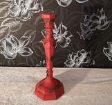 Nero, ljusstake,11x28cm, gjutjärn, röd