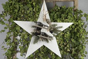 Dekorationsstjärna Trä - Vit