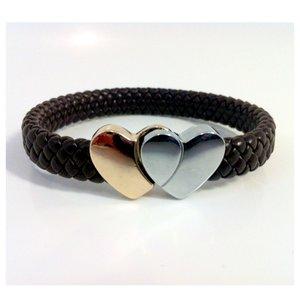 Flätat armband Hjärta - Brunt