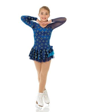 Mörkblå klänning med asymetrisk skärning