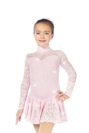 Långärmad klänning i rosa med spets från Sagester