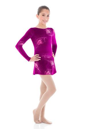 Vinröd sammetsklänning med glittermönster