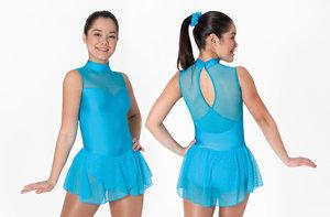 Klänning med hög halsringning och glittrig mesh