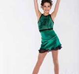 Ärmlös klänning i mörkgrön glittersammet