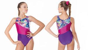 Gymnastikdräkt i lila och cerise