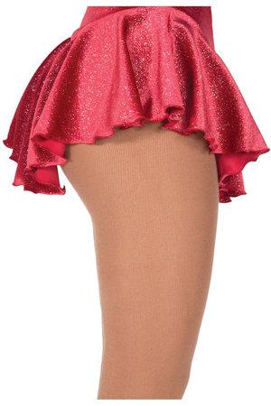 Röd rynkad kjol i glittersammet