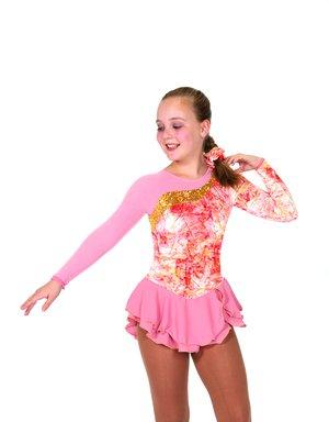 Aprikosfärgad klänning med guldglitter