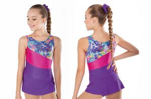 Gymnastikdräkt med kjol i lila och cerise