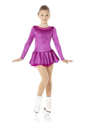 Mörkrosa klänning i glittersammet med underkjol