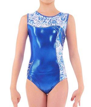Långärmad gymnastikdräkt i blått och vitt  från RG Leotard