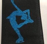 konståkningsplånbok med turkosglittrigt motiv