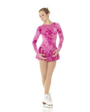 Rosa klänning med sammetsmönster