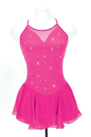 Rosa axelbandsklänning med kristaller