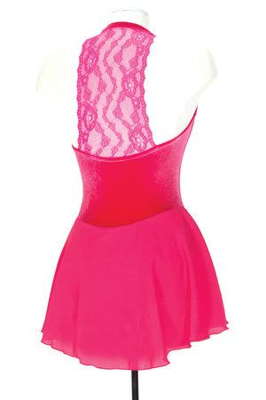 Rosa sammetsklänning med spetsliv