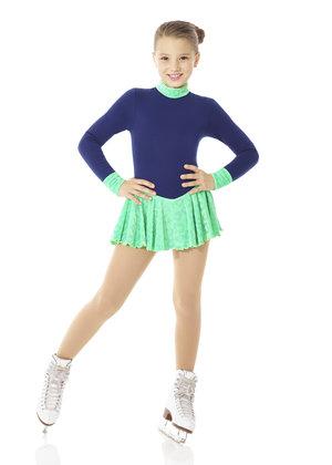 Varm klänning i Polartec med ljusgrön glittrig sammetskjol