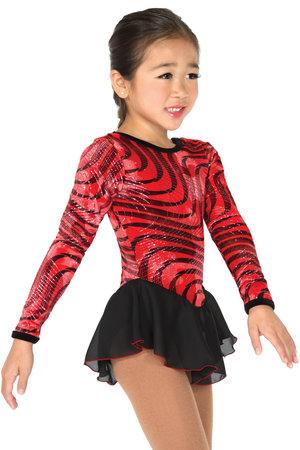 Rödsvart sammetsklänning