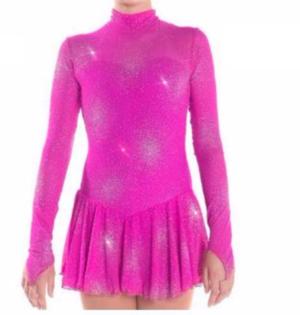 Långärmad glittrig klänning i cerise