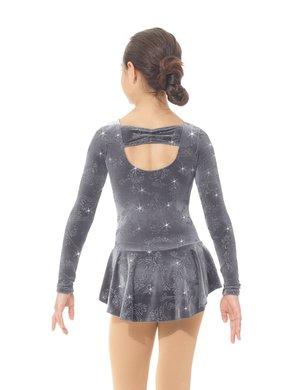Grå klänning i glittersammet med spännande rygg