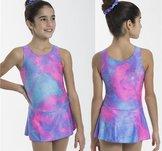 Ärmlös klänning i lila & rosa glittrigt material