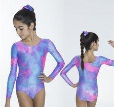Långärmad gymnastikdräkt i lila & rosa glittrigt material