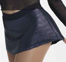 Marinblå kjol i glittrigt material i rak modell