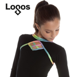 Tröja med nätmönster i glittriga regnbågsfärger på bröst och rygg