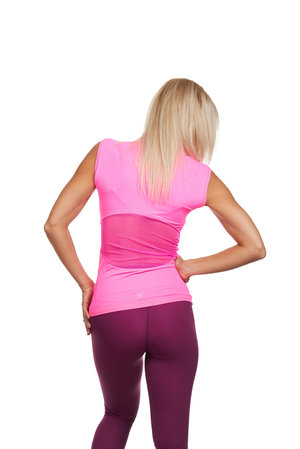 Rosa träningstopp med meshparti i ryggen