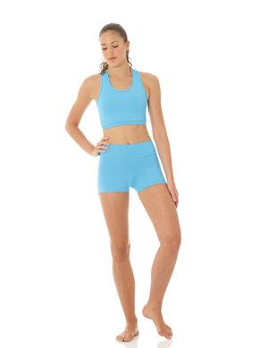 Blå hotpants i funktionsmaterial