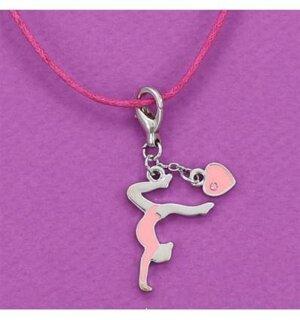 Halsband med gymnastikflicka i rosa