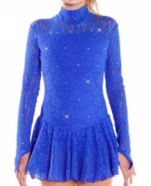 Långärmad spetsklänning med swarovskikristaller i blått