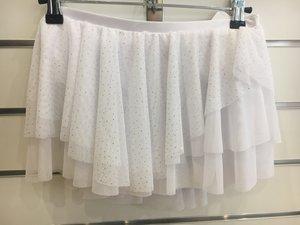 Vit rynkad kjol med massor av glitter