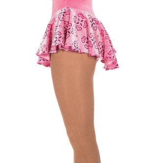 Ljusrosa sammetskjol med glittermönster i silver och rosa.