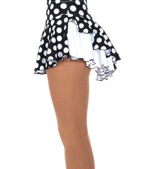 Mönstrad kjol i svart med vita prickar