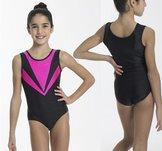Kortärmad gymnastikdräkt i glittrigt tyg i rosa, svart eller vit.