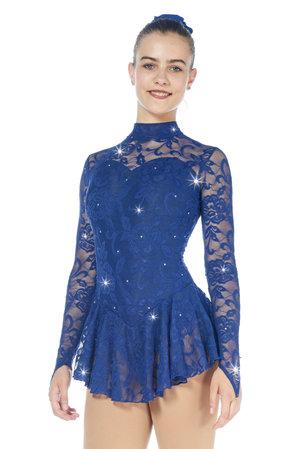 Långärmad klänning mörkblått med spets från Sagester