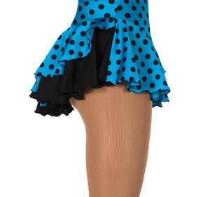 Mönstrad kjol i blått med svarta prickar