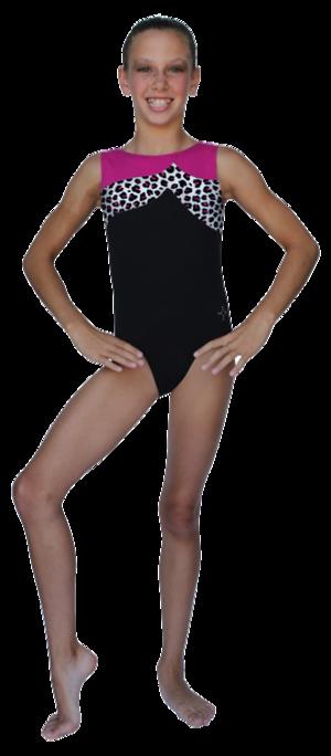 Gymnastikdräkt i svart med parti i färg och djurmönster