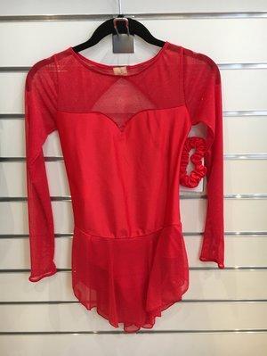 Röd klänning med glittrig mesh