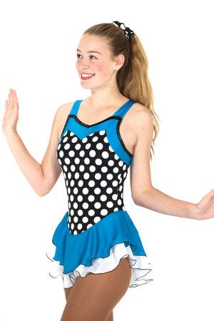Prickig klänning med turkos kjol