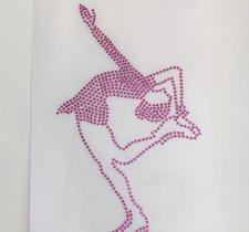 Hotfixdekoration i kristall, rosa himmelspiruett