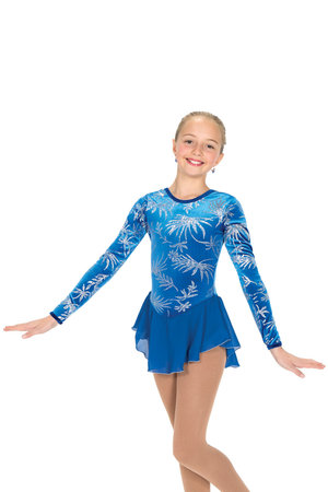 Blå klänning med tryck i silverglitter