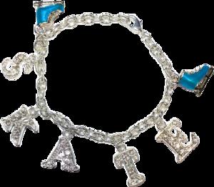 Berlockarmband med rosa eller turkos skridskor
