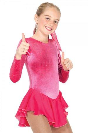 Rosa sammetsglänning med tunn kjol
