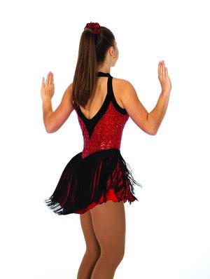 Röd-svart klänning med franskjol