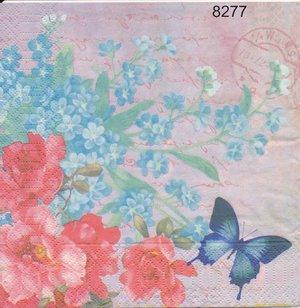 Blommor med fjäril  8277