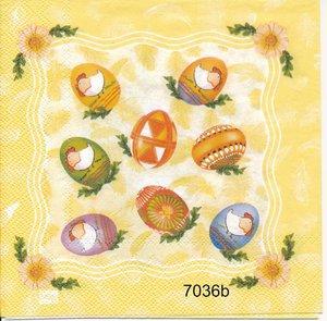 Äggkorg mm olika motiv på servetten